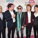 Lorne Michaels and Jimmy Fallon, and Keith Richards, Mick Jagger and Ronnie Wood of The Rolling Stones attend The Rolling Stones celebrate the North American debut of Exhibitionism at Industria in the West Village on November 15, 2016 in New York City