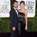 Singer Adam Levine and model Behati Prinsloo attend the 72nd Annual Golden Globe Awards at The Beverly Hilton Hotel on January 11, 2015 in Beverly Hills, California - 399 x 594