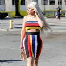 Blac Chyna in Colorful Dress out in Los Angeles - 454 x 681