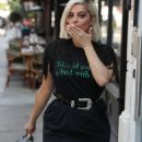 Bebe Rexha in Leather Pants – Out in London