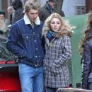AnnaSophia Robb and Austin Butler on the set of 'The Carrie Diaries' in NYC (January 22)