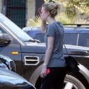Dakota Fanning was spotted heading into the gym yesterday, August 27, in Los Angeles