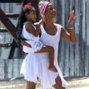 Christina Milian and her daughter Violet spend the day at the beach in Malibu, California on July 4, 2014