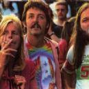 Paul and Linda McCartney with David Gilmour