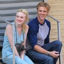 Dakota Fanning films a scene for Very Good Girls with Boyd Holbrook in New York City, New York on July 3, 2012