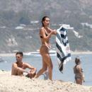 Bella Hadid in Black and White Bikini at the beach in Thousand Oaks - 454 x 406