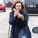 Elizabeth Olsen in Jeans and Long Coat out in LA