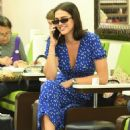 Amelia Hamlin in Blue Dress at Nail Design in Beverly Hills
