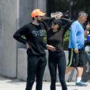 Elizabeth Olsen in Tights with boyfriend Robbie Arnett in Los Angeles - 454 x 569