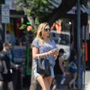 Elizabeth Olsen in Shorts out for lunch in Hollywood