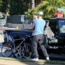 Josh Duhamel and Axl are seen bicycling in Santa Monica. January 5,2014