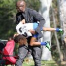 Seal is seen watching his kids Leni, Henry and Johan play soccer in Brentwood, California on January 31, 2015
