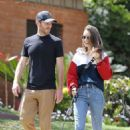 Charlie McDowell with Lily Collins – Taking their dog for a walk in Beverly Hills
