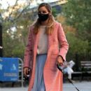 Olivia Palermo – Wearing a pink coat in Dumbo