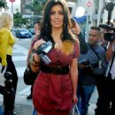 Kim Kardashian Walks Around On Rodeo Drive In Beverly Hills With A Video Camera Filming The Paparazzi For HollywoodTV 2008-04-15