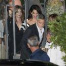 Amal and George Clooney at Gatto Nero in Cernobbio - 454 x 321