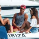 Real Madrid star Cristiano Ronaldo giggles with brunette beauty on holiday Ibiza after Eiza Gonzalez slams romance - 454 x 295