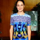 shailene woodley: in a form-fitting patterned Mary Katrantzou dress