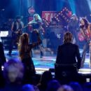 "Musician Steven Tyler performs onstage with American Idol judges Harry Connick Jr., Jennifer Lopez, and Keith Urban during ""American Idol"" XIV Grand Finale at Dolby Theatre on May 13, 2015 in Hollywood, California."