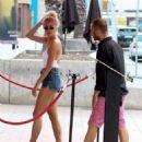 Pixie Lott in Denim Shorts Out in Barcelona - 454 x 586