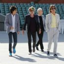 Ronnie Wood, Keith Richards, Charlie Watts and Mick Jagger of the Rolling Stones walk onto the Adelaide Oval for a photo call for the media ahead of their Australian tour at Adelaide Oval on October 23, 2014 in Adelaide, Australia