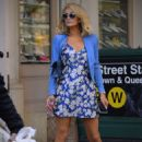 Paris Hilton in Floral Dress out in New York