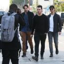Joe & Kevin Jonas meet some friends for lunch in Los Angeles, California on January 9, 2015