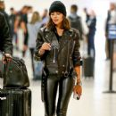 Olivia Culpo in Leather Pants – Arrives in Miami