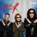 Director Stephen Kija and musicians Yoshiki and Gene Simmons attend the premiere of Drafthouse Films'