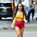 Zoe Kravitz in Red Shorts – Out in New York