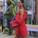 Alesha Dixon in Red Dress out in Soho - 454 x 808
