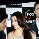Aishwarya Rai Bachchan with Hugh Jackman and Shahrukh Khan at FICCI Frames 2011