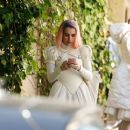 Emma Roberts in costume on the set of 'Paradise Hills' in Barcelona