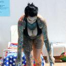 Jemma Lucy in Bikini on the pool in Portugal - 454 x 757