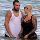 Amber Rose and French Montana on the beach in Miami, Florida - May 14, 2017 - 454 x 522