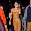 Kendall Jenner – In a skintight brown leather outfit with boyfriend Devin Booker in New York