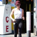 Lucy Hale – In black tights out for errands in LA