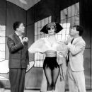 Publicity photo of Rudy Vallee, Virginia Martin and Robert Morse from 1961 Broadway play How to Succeed in Business - 454 x 563