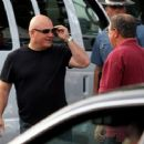 Michael Chiklis arrives at the Hatch Shell along the Charles River in Boston this evening for a dress rehearsal in preparation for tomorrow nights Fourth of July celebration