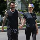 Behati Prinsloo in Tights with Adam Levine out in Los Angeles