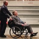 George W. Bush Wheels His Father, George H.W.Bush, At The Funeral For His Wife, Barbara Bush April 21,2018       ,To The Bush Family Area In Church