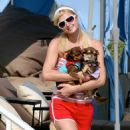 Paris Hilton With Three Dogs In Malibu, July 20 2007