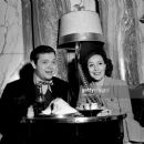 Dolores del Rio and Orson Welles  meeting with the press in the Ambassador Hotel's Trianon Room - 454 x 379