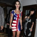 Katy Perry looks striking in a Union Jack/ Stars and Stripes combi-PVC dress