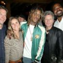 CEO of Fanatics Doug Mack, former professional soccer player Brandi Chastain, recording artists Wiz Khalifa and Jon Bon Jovi and former NFL player Jonathan Ogden attend the Fanatics Super Bowl Party on February 6, 2016 in San Francisco, California.