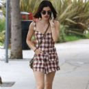 Lucy Hale in a plaid romper out in Studio City - 454 x 681