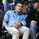 Zac Efron at the Lakers vs. Celtics game, Staples Center in Los Angeles, Sunday January 30, 2011