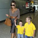 Victoria Beckham With Her Kids Arrive At London's Heathrow Airport From LA, July 8 2008