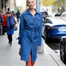 Elsa Hosk in Long Jeans Coat – Out in NYC - 454 x 682