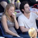 Blake Lively and Penn Badgley at the tennis - US Open 2009
